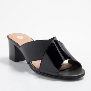 NIB Dress Barn Size 9 Black Shoes Block Heel Mule